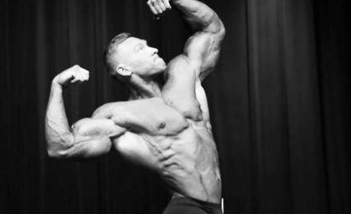 black and white muscular man